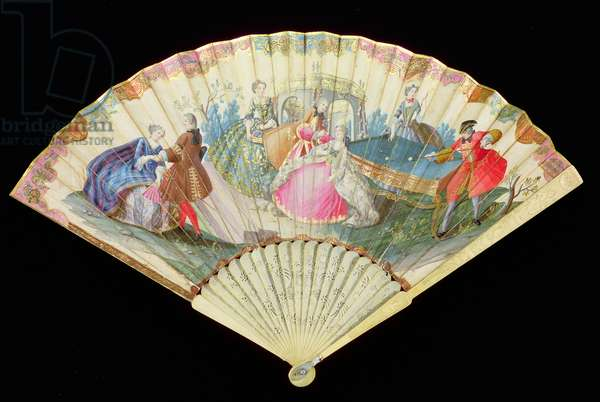 Billiards Fan, folding fan, possibly Venetian, paper painted in gouache and gilt with ivory sticks, c.1730