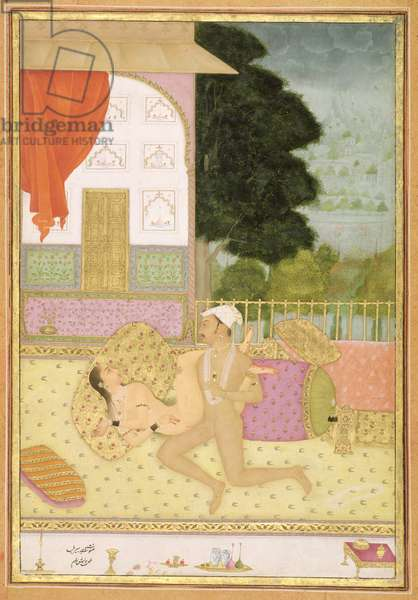 The private pleasure of Raja Bir Bal: the couple make love on a carpeted balcony by Har Bishan Ram, Bikaner, Rajasthan, Rajput School, c.1678-98, (gouache on paper)