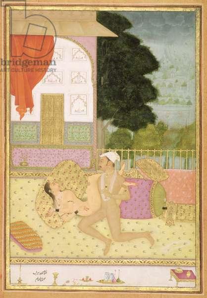 The private pleasure of Raja Bir Bal: the couple make love on a carpeted balcony by Har Bishan Ram, Bikaner, Rajasthan, Rajput School, c.1678-98, (gouache on paper)