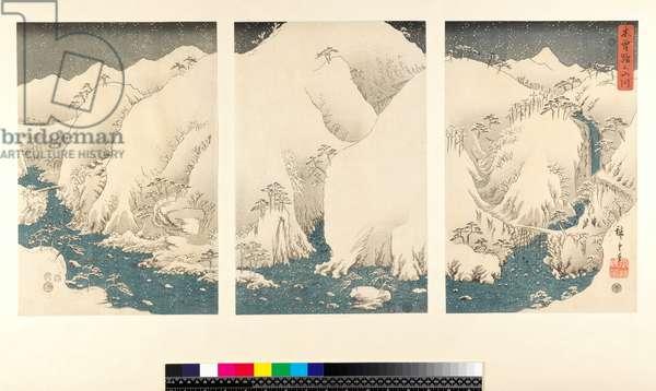Snow storm in the mountains and rivers of Kiso, (sanmaitsuzuki - triptych, yoko-e - horizontal format, colour woodblock print)