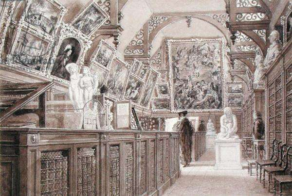 Interior of the Old Perse School, with a selection of Lord Fitzwilliam's Bequest displayed (pencil, brush and wash on paper)