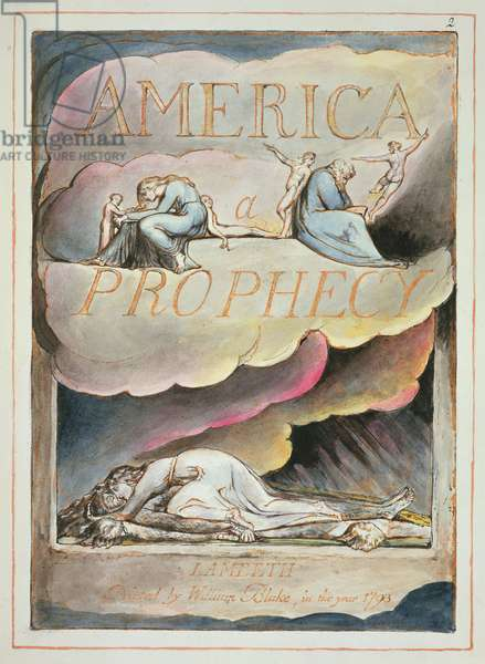 Titlepage to 'America, a Prophecy', 1793 (relief etching & w/c on paper)