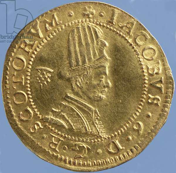 4-pounds Scots (hat-piece) of James VI, Edinburgh mint, 1591 (obverse) (gold) (for reverse see 244626)