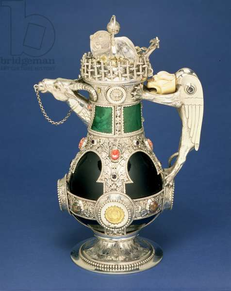 M.16-1972 Decanter by William Burges (1827-81) 1865 (green glass, silver and semi-precious stones)