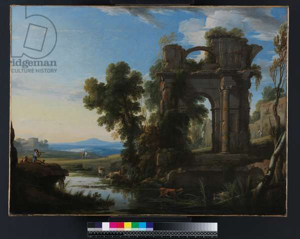Landscape with classical ruins, 1640-45 (oil on canvas)