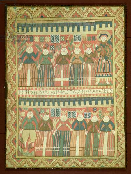 T.4-1945 Kjorstad tapestry depicting the story of the Wise and the Foolish Virgins, Norwegian, 17th century (tapestry)