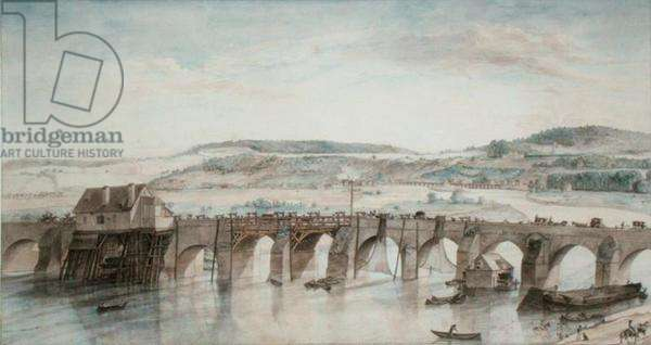 The Two Bridges (Saint-Cloud and Sevres) (pen and ink and w/c on paper)