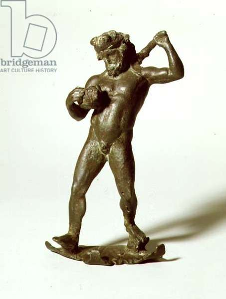 GR.5-1977 Statuette of a drunken Hercules, with attachments to the shoulder of a large Krater, 1st century BC, Greek (bronze)
