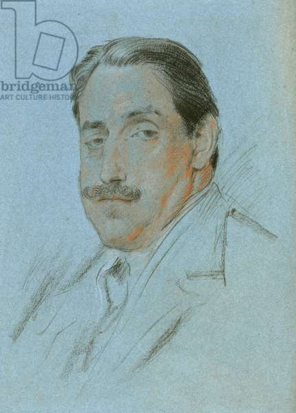 Study for a portrait of Louis Clarke (black, red & white chalk on blue paper)