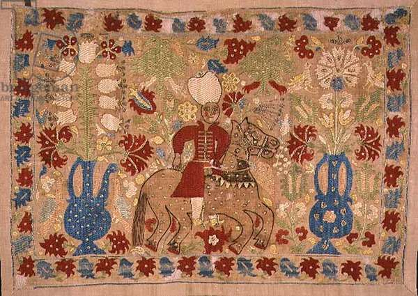 T.19-1946 Cushion cover, depicting a bridegroom riding a gaily caparisoned horse, from Yannina, Greece, 18th century (linen embroidered with silk and metal threads)
