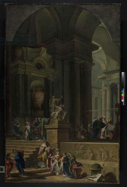 An Allegorical Monument to Sir Isaac Newton (1642-1727) c.1727-29 (oil on canvas)