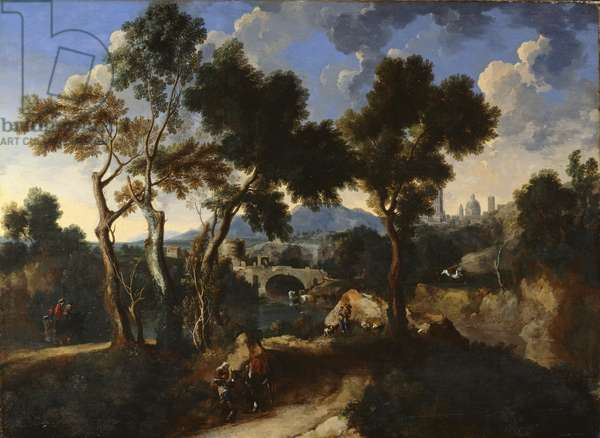 Landscape with Villagers, c.1640 (oil on canvas)