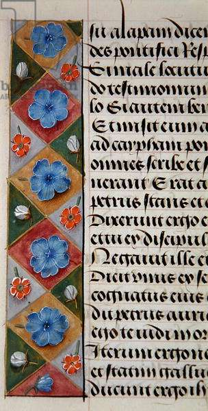 Ms. 1058-1975, f.17v: detail of a floral border from a Book of Hours, c.1500 (vellum)