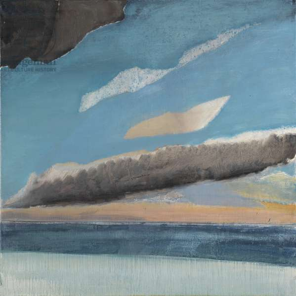 Volcano and white bird, Iceland, 1974-75, panel 4, 1974-75 (oil on canvas)