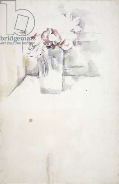 PD.6-1966v Vase of flowers on a window ledge, c.1890 (w/c and chalk)