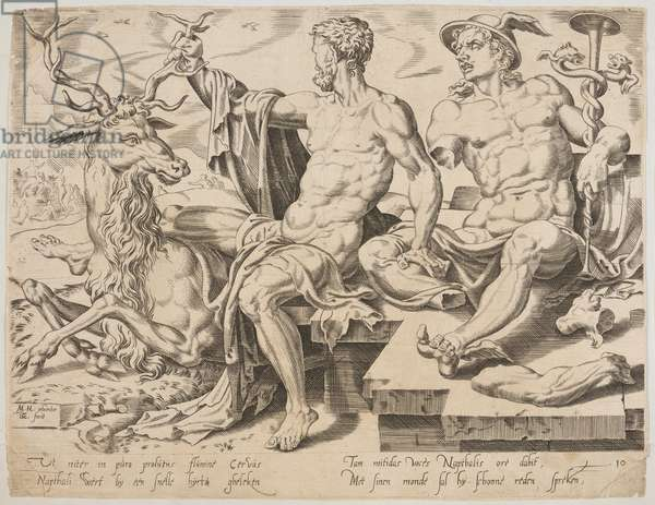 Naphtali with a stag and a broken statue of Mercury, from the series The Twelve Patriarchs, engraving by Dirk Volkertsz Coornhert (1522-90), c.1550 (engraving)