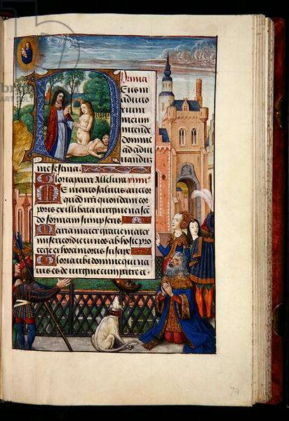 Ms 1058-1975, f.74r: King David praying to the Virgin and Child and a historiated initial D depicting the creation of Eve, from a Book of Hours, Bruges, c.1510 (gold ink & tempera on parchment)