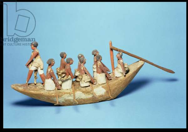 Model sailing boat from Tomb 366, Beni Hasan, Middle Kingdom (painted wood and linen)
