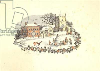 Christmas Snow Scene (wood engraving, coloured by hand)