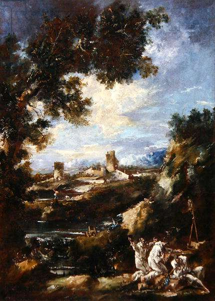 Landscape with Carmelite Friars Praying at a Roadside Shrine, c.1720 (oil on canvas)