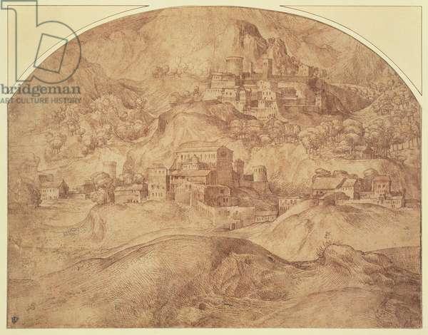 Mountainous Landscape (pen and ink)