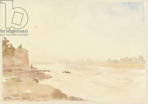 Evening - river scene, 1922 (w/c over graphite on paper)