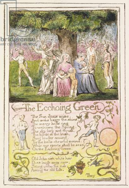 P.124-1950.pt5 The Echoing Green: plate 5 from Songs of Innocence and of Experience (copy R) c.1802-08 (etching, ink and w/c)