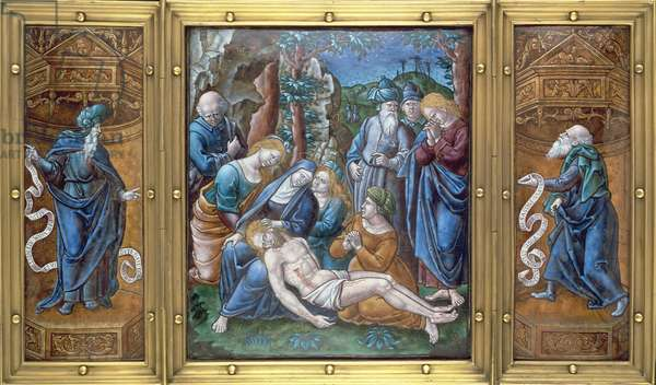 M.1-1926 Triptych: the Lamentation, Daniel and St. Peter, painted in Limoges, France, 1538 (enamel on copper)