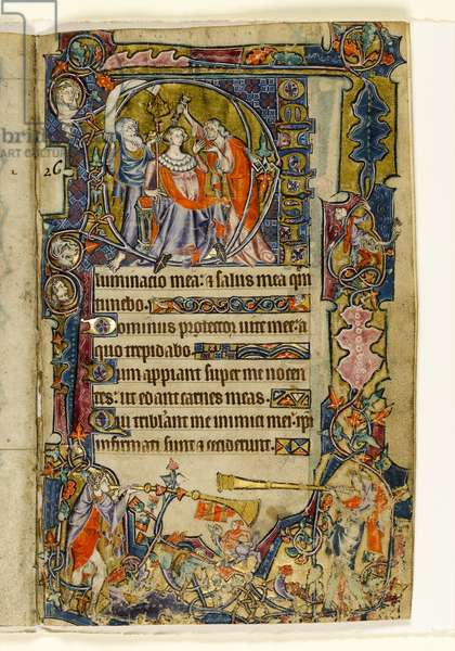 MS 1-2005, fol. 39r: The Anointing of David and Trumpeters, historiated initial from the Macclesfield Psalter, Use of Sarum, East Anglia, c.1330 (vellum)