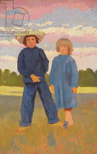 David and Caspar at Alderney, 1912 (oil on panel)