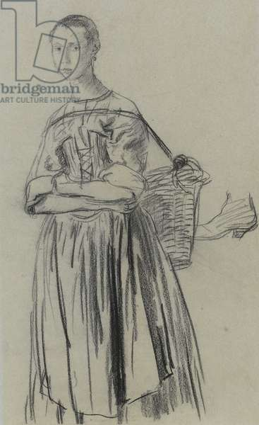 A girl with a basket (black chalk on grey paper)