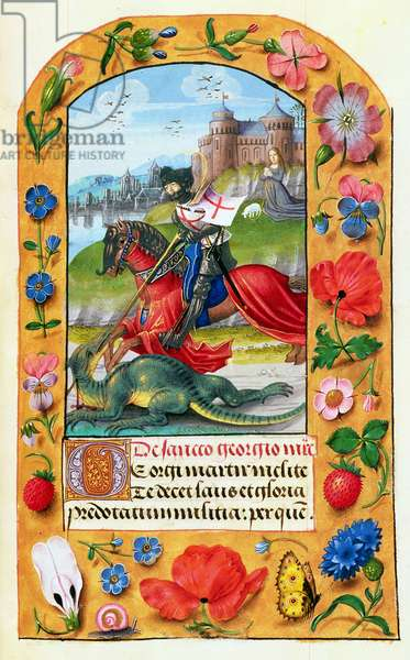 MS 1058-1975 f.173r St. George and the Dragon, from a Book of Hours, probably Bruges, c.1500-05 (vellum)