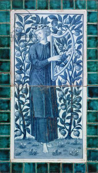 C.4-1980 Tile panel depicting a minstrel made by Morris & Co., 1872-4 (two hand-painted blue and white tiles set in surround of 40 blue-green tiles)