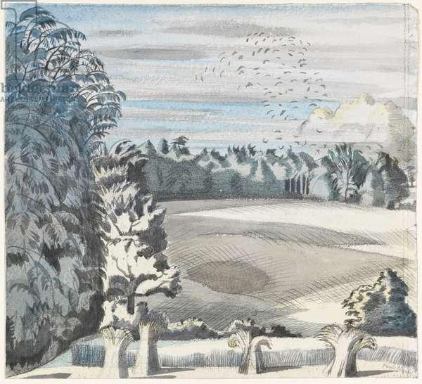 Landscape with Rooks, c.1913-14 (black chalk & w/c on paper)