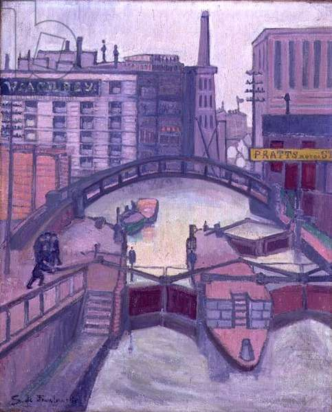 Lock on the Canal, 1913 (oil on canvas)