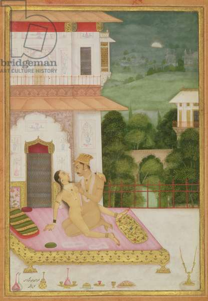 The private pleasure of the son of Raja Bhagwandas by Narsingh, Bikaner, Rajasthan, Rajput School, c.1678-98, (gouache on paper)