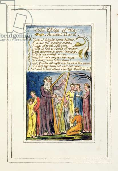 P.124-1950.pt26 The Voice of the Ancient Bard: plate 26 from Songs of Innocence and of Experience (copy R) c.1802-08 (etching, ink and w/c)