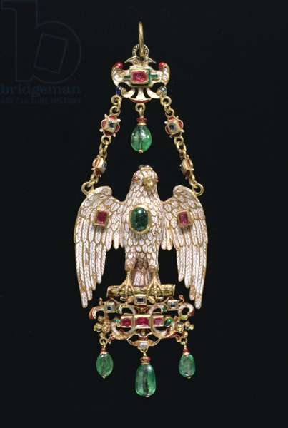 M/P.17-1938 Pendant in the form of an eagle with spread wings, Spanish, c.1620 (enamelled gold with emeralds and diamonds)