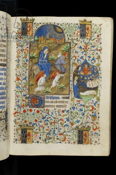 Ms 62 f.86r The Flight into Egypt, from a Book of Hours, c.1418 (vellum)