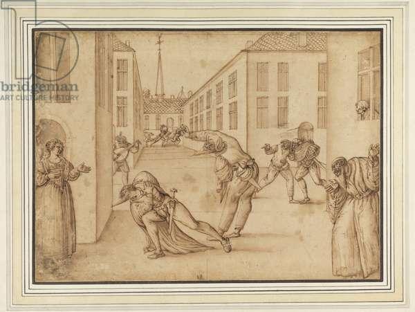 Scene from the Commedia dell'Arte, c.1575-1600 (bistre & wash on paper)