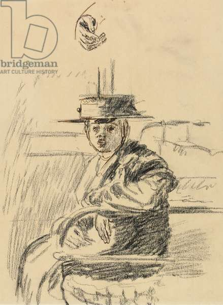 Seated woman with a straw boater (charcoal with pen & brown ink on paper)
