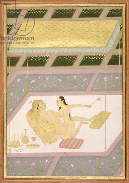 The couple making love, show the proper posture for female type: Hastini; male type: Ashva; by Govardhan, Bikaner, Rajasthan, Rajput School, c.1678-98, (gouache on paper)