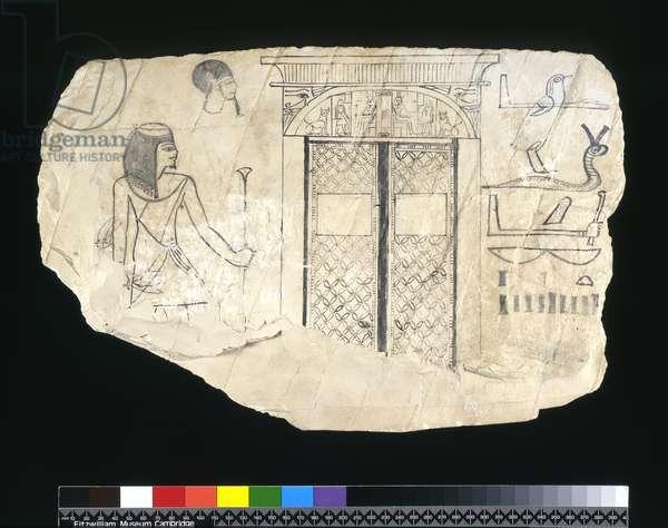 Ostracon, New Kingdom, c.1295-c.1186 BC (painted limestone)
