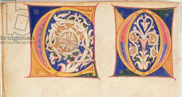 MS 83-1972 f.3v Outline designs for capital letters showing 'C' and 'O' from a Model Book of Initials, Italian, c.1200 (vellum)