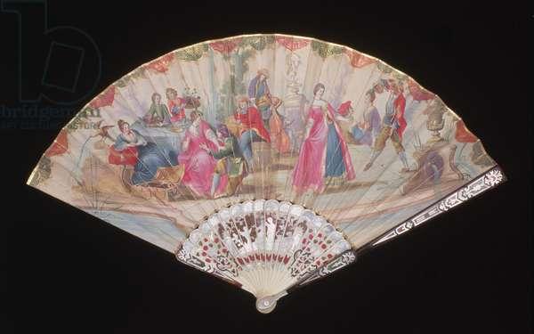 Folding fan, possibly Venetian, c.1720