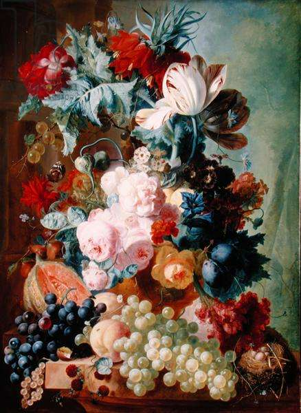 Flowers and Fruit (oil on panel)