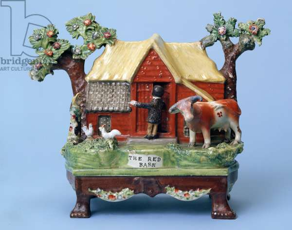 """""""The Red Barn Murder"""", made to commemorate the murder of Maria Martin, Burslem, possibly by Obadiah Sherratt (c.1775-1846), c.1828 (lead-glazed earthenware with enamel colours)"""