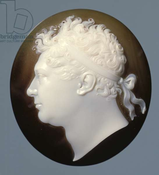Model for an unissued medal of the Prince Regent (1762-1830), brown and white onyx cameo, by Benedetto Pistrucci, c.1816