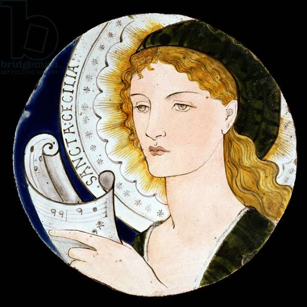 C.2-1922 Morris and Company tile depicting St. Cecilia, designed by Edward Burne-Jones (1833-98), painted by Kate Faulkner, c.1865 (painted earthenware)