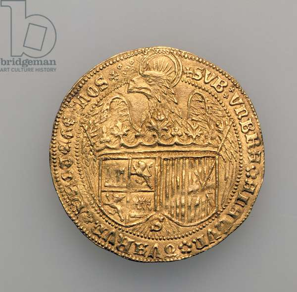 Double excelente of Ferdinand II of Aragon (1452-1516) and Isabella of Castille (1451-1504), Seville Mint, 1475 (gold) (see 168057)